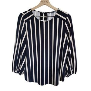Adrianna Papell Stripped Career Blouse Size Med